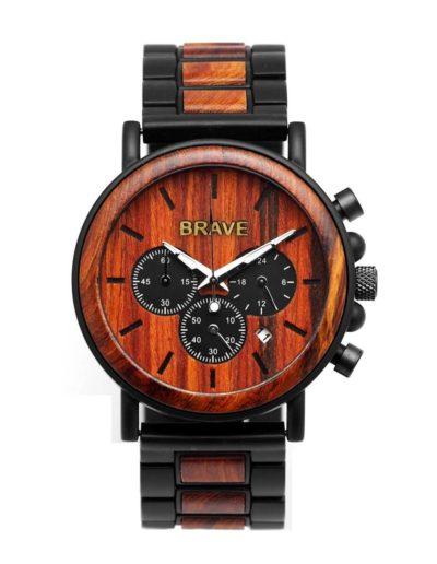 BRAVE-kronográf-férfi-karóra-vörös-zebrafa-berakással és fa számlappal (1)