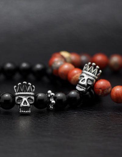 brave king skull férfi ásvány karkötők