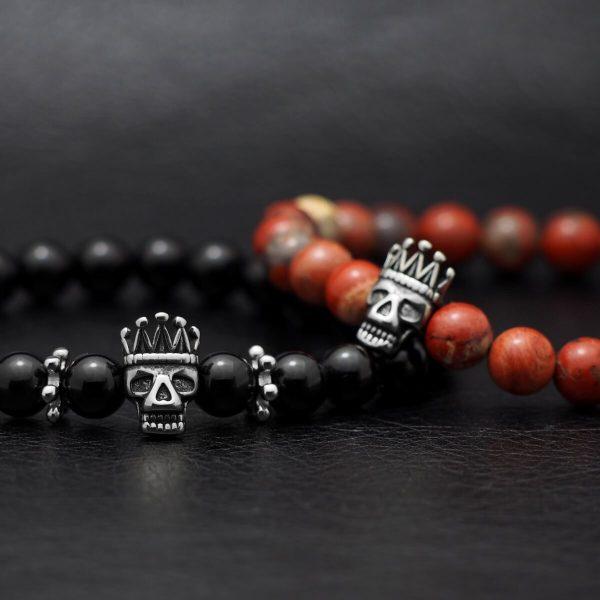 """""""Skull King"""" Fekete Ónix Ásvány Karkötő"""