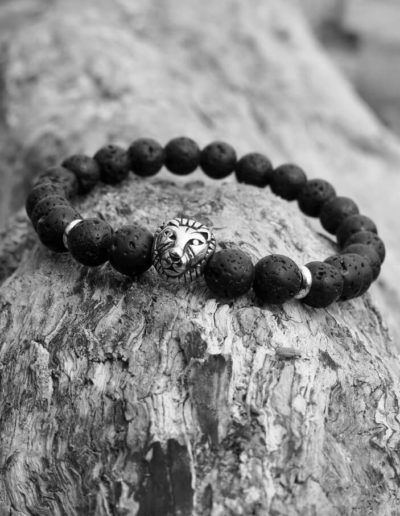 oroszlános lávakő férfi ásvány karkötő