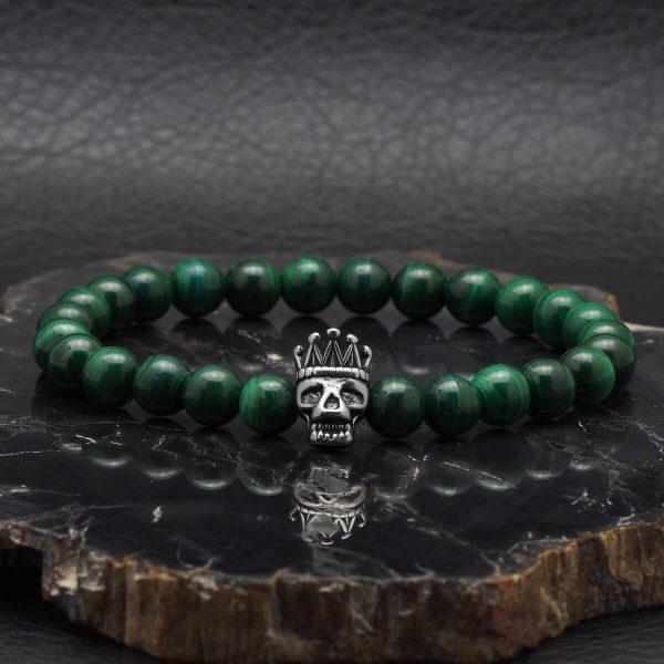 """""""Skull King"""" Zöld Malachit Drágakő Karkötő"""