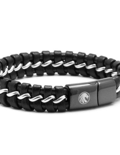 BRAVE-acél-lánc-bőrfonat-férfi-karkötő-fekete (1)