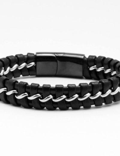 BRAVE-acél-lánc-bőrfonat-férfi-karkötő-fekete (2)
