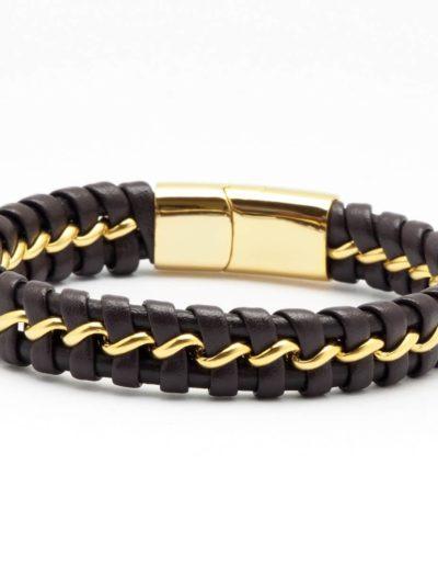 BRAVE-barna-arany-acél-fonott-bőr-férfi-karkötő (2)