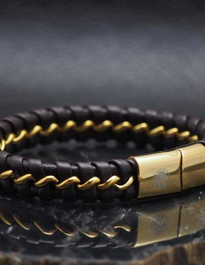 BRAVE-barna-arany-acél-fonott-bőr-férfi-karkötő (3)