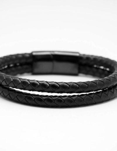 BRAVE-fekete-duplasoros-fonott-bőr-férfi-karkötő (2)