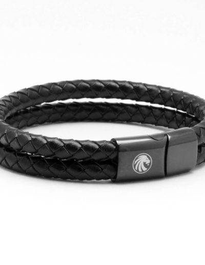BRAVE-fekete-duplasoros-fonott-bőr-férfi-karkötő (3)