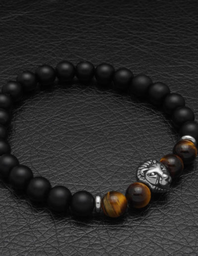 BRAVE-matt fekete ónix acél oroszlán ásvány gyöngy karkötő (5)