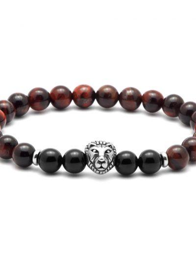 BRAVE-LION-acél-oroszlános-férfi-ásvány-karkötő-macskaszem-ónix