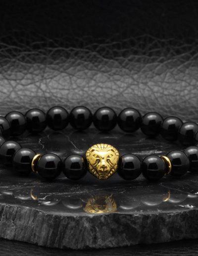 BRAVE-LION-fekete-ónix-ásvány-karkötő-arany-acél-oroszlán-medál (2)