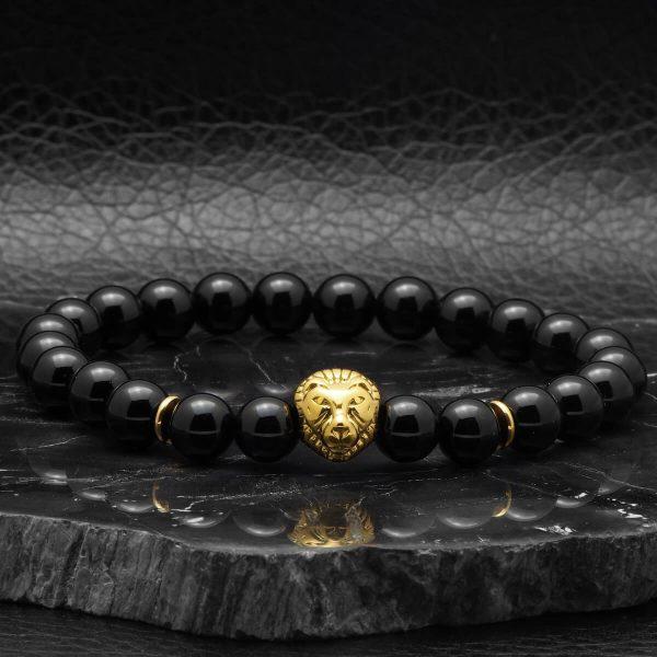 BRAVE – LION  Acél Oroszlános Ónix Ásvány Karkötő – Arany