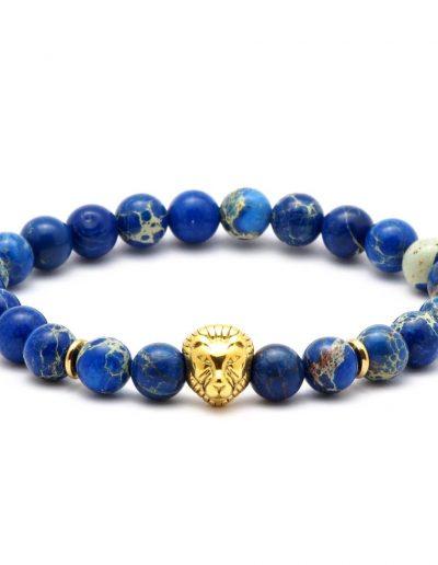 BRAVE-LION-kék-regalit-ásvány-karkötő-arany-acél-oroszlán-medál (1)