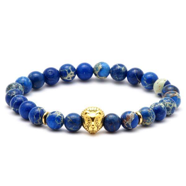 BRAVE – LION  Acél Oroszlános Kék Regalit Karkötő – Arany