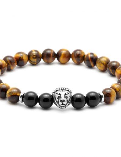 BRAVE-oroszlános-tigriszem-onix-fárfi-ásvány-karkötő