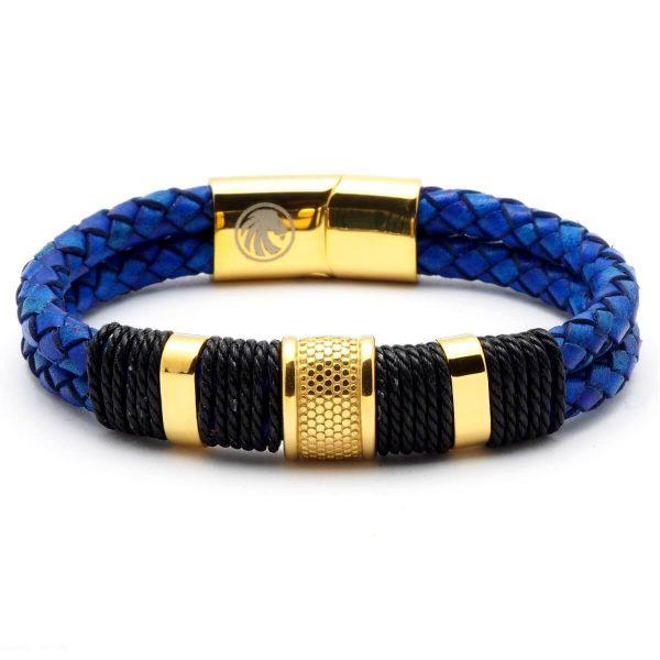 APOLLO – Kék Fonott Bőr Férfi Karkötő – Arany Színű Acél Medál